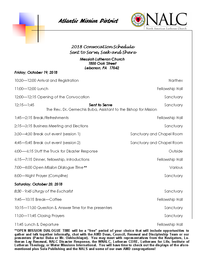 Convocation Schedule