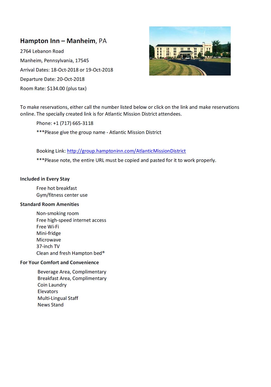 Hampton Inn Info Sheet