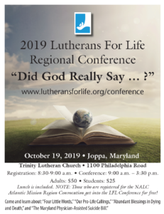 Lutherans for Life flyer