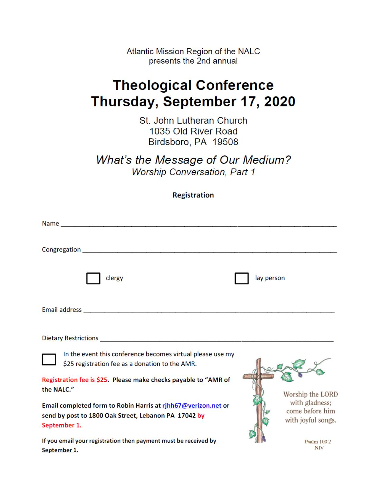 Theological Conference Registration