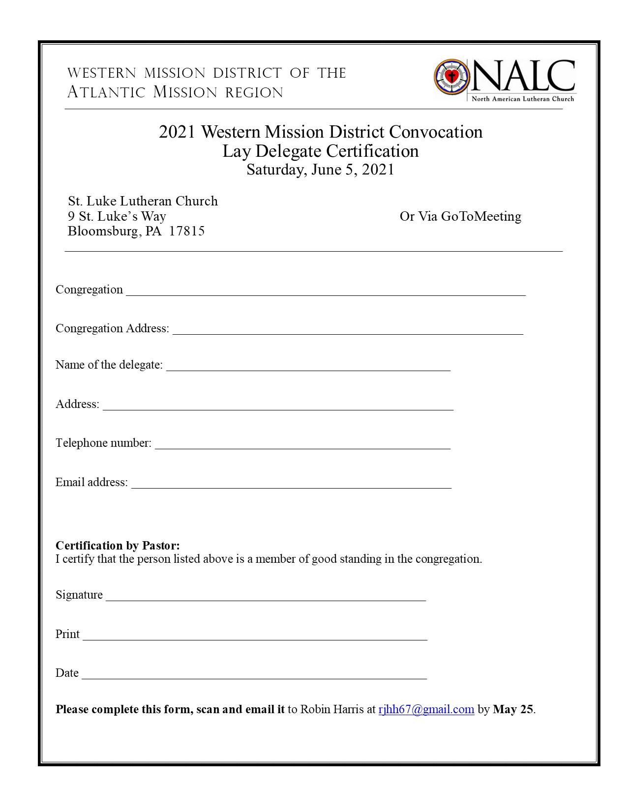 WMD Lay Delegate Certification Form
