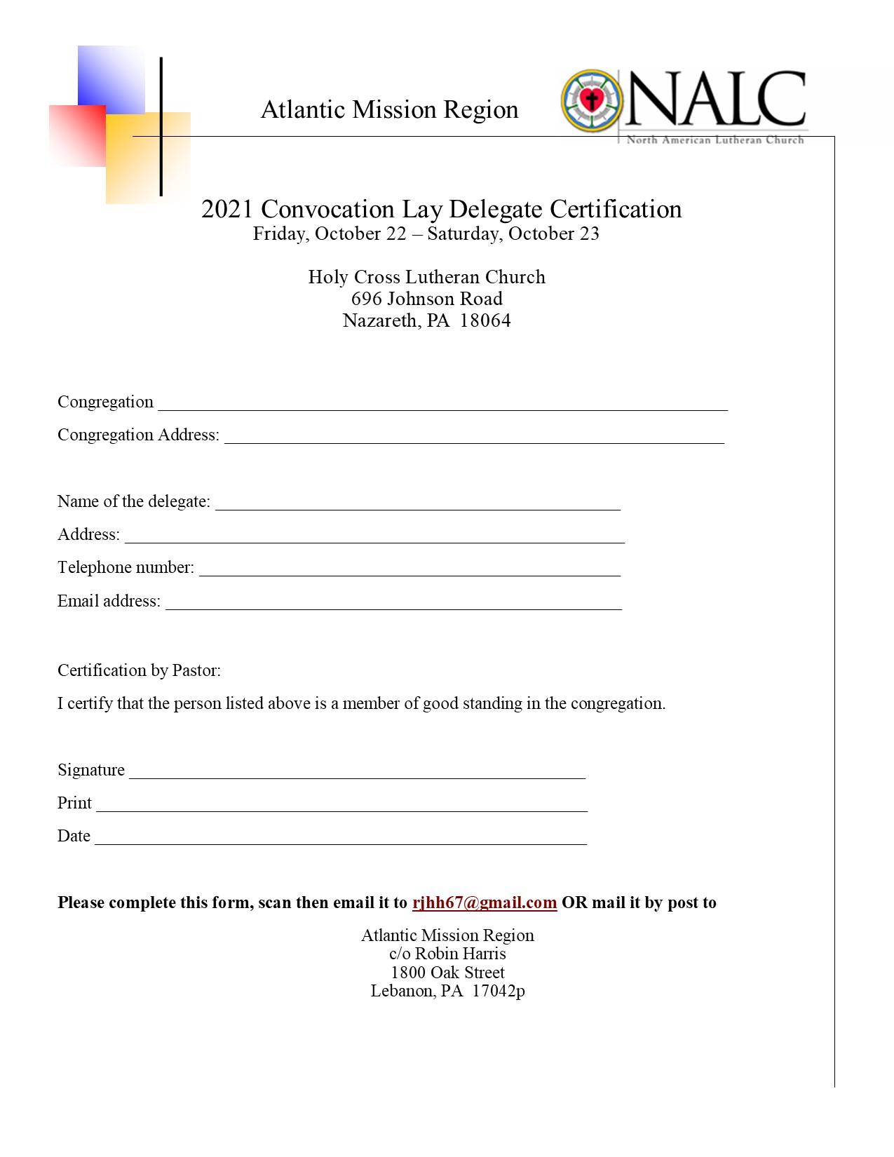 Delegate Certification Form